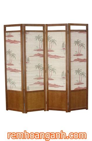 Sản phẩm bình phong bằng gỗ với họa tiết cây dừa của công ty nội thất Anh Anh tại remcuaanhanh.com